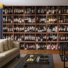 Papel pintado 3D estilo europeo botellas de vino tinto modernas estante de vino de madera murales de fotos café Bar restaurante papeles pintados de fondo