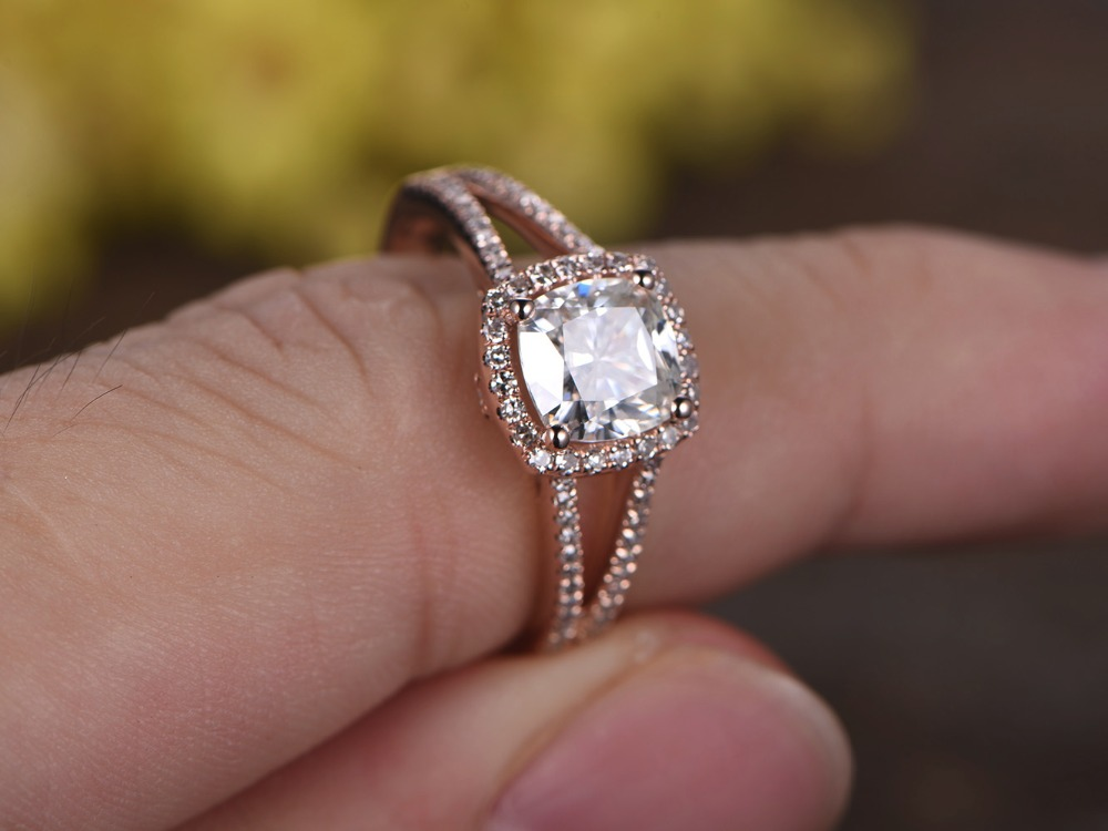 Fabulous MYRAY 7mm Cushion Cut Moissanite 14k Rose Gold Diamond Halo Split  DD56