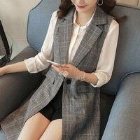 Women Fashion elegant office lady pocket coat sleeveless Plaid vests jacket outwear casual brand WaistCoat colete feminino