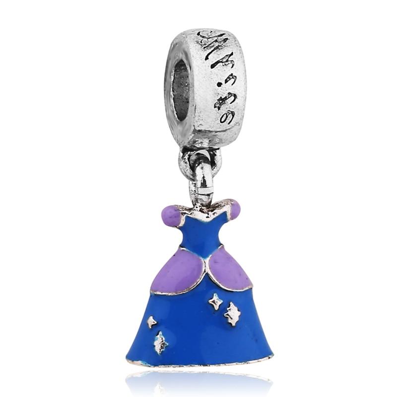 Free Shipping 1PC Silver Jewelry Charm Cinderella Dress Pendant Fits Pulseira Feminina Pandora Charm Bracelets & Necklaces