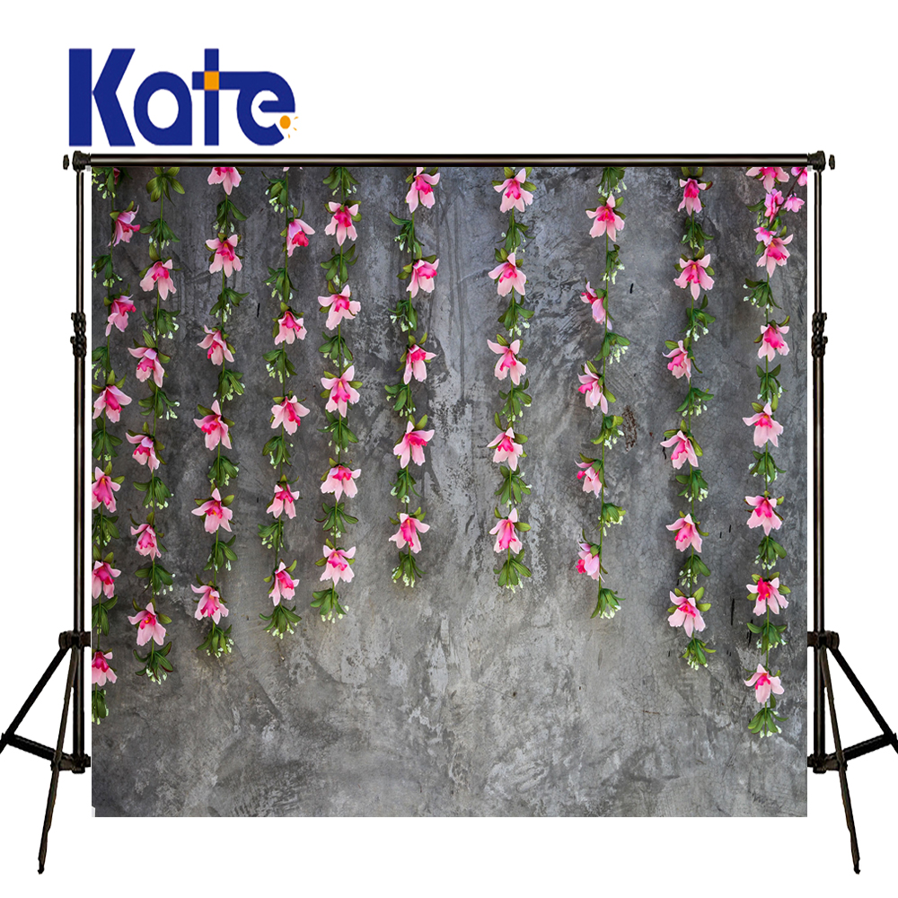 KATE Photography Backdrops Floral Backdrop Solid Gray Brick Wall Background Wedding Background Newborn Photo Studio Background vinyl floral flower newborn backdrops cartoon unicorn photography background studio photo props 5x3ft