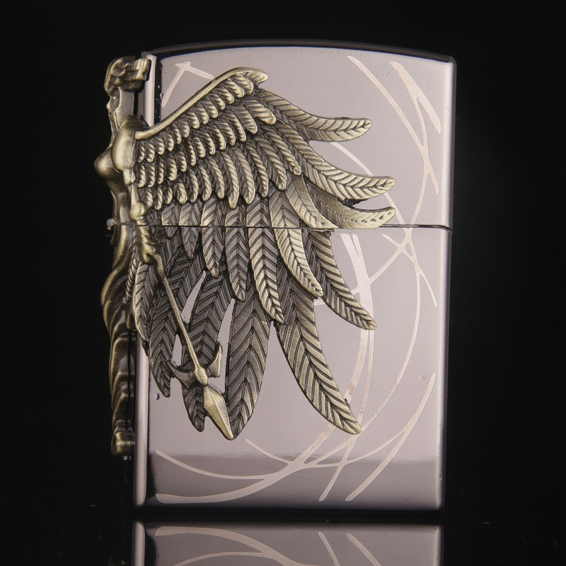 Gas Lighter Butane Lighter Amazon Female Warrior Cigarette Cigar Flame Tobacco Big Angel Wings Fire Bar Lighters-in Matches from Home & Garden