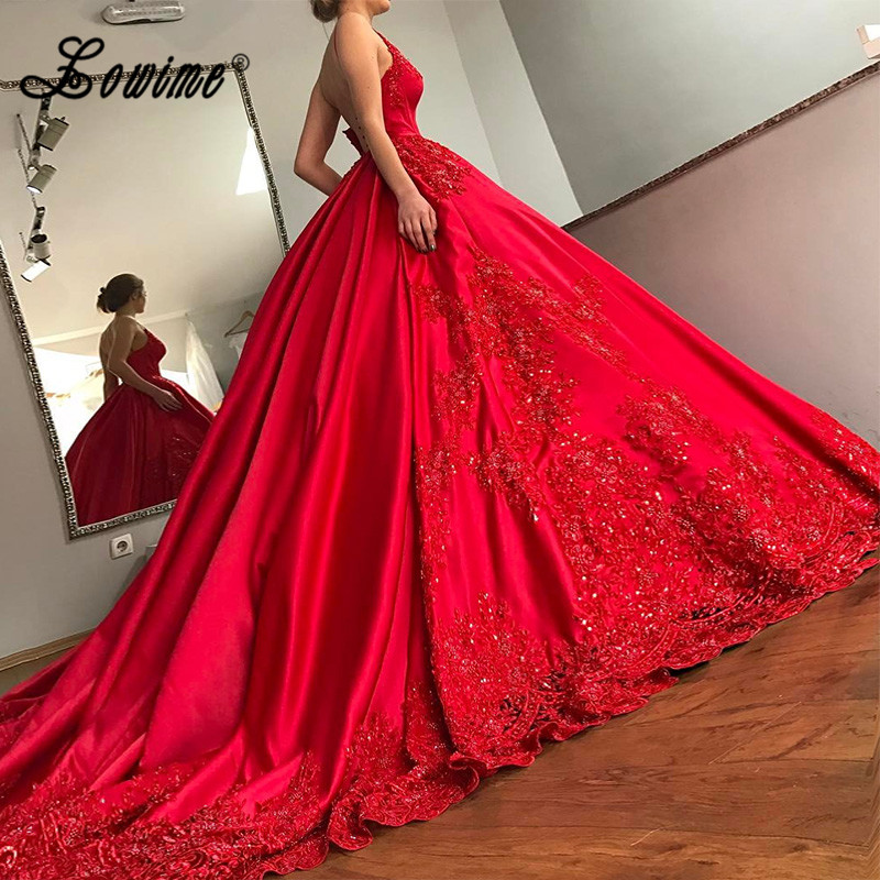 Luxury Red Wedding Dresses 2017 V-Neck Ball Gown Robe De Mariage Backless Lace Satin Wedding Dress Plus Size Women Bridal Gown