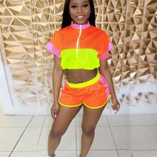 Adogirl Color Patchwork Breathable Women Tracksuit Summer Two Piece Set Zipper Short Sleeve Crop Top Shorts Outdoor Outfits