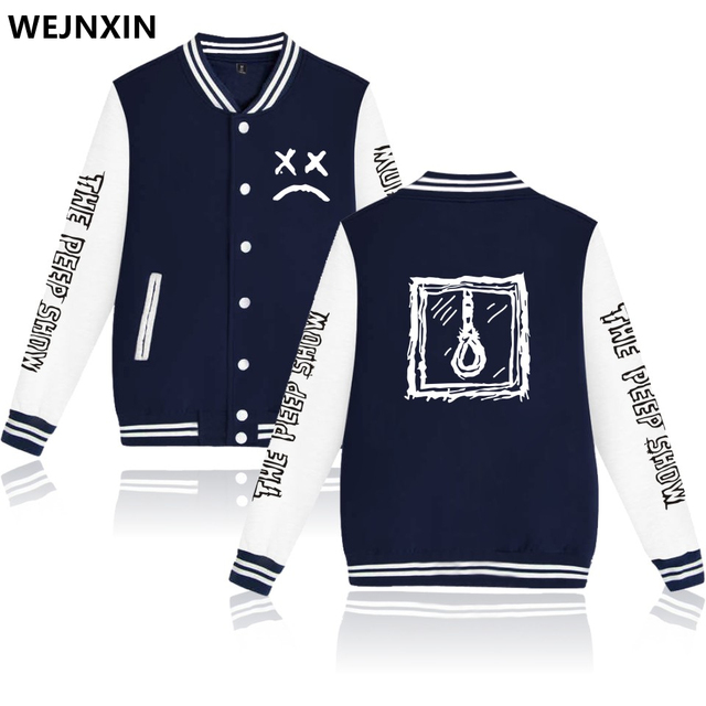 WEJNXIN Lil Peep Design Baseball Jackets Men Women Unisex V-Neck Hoodies Spring Autumn Sweatshirt Hip Hop Streetwear Clothing