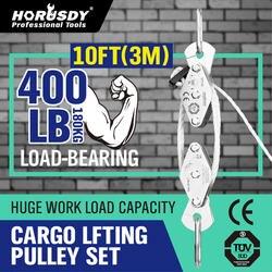 Лебедка HORUSDY 180 кг, из нержавеющей стали, для подъема груза, набор, энергосберегающая лебедка, двойной 4 канавный ролик, экономичный инструмен...