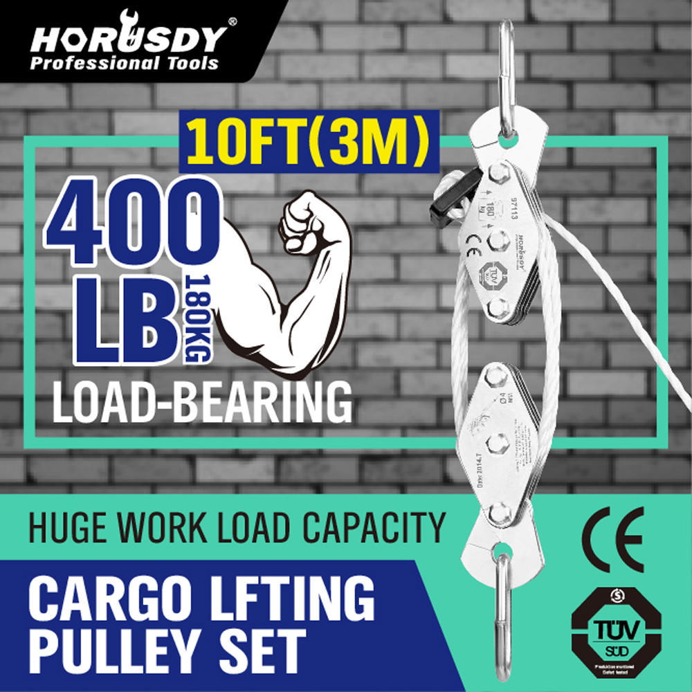 HORUSDY 180kg Winch Stainless Steel Cargo Lifting Pulley Set Labor Saving Winch Double 4 Groove Pulley Labor-saving Lifting Tool