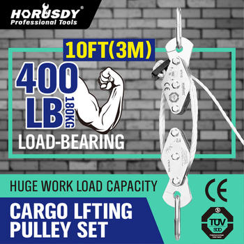 HORUSDY 180kg Winch Stainless Steel Cargo Lifting Pulley Set Labor Saving Winch Double 4 Groove Pulley Labor-saving Lifting Tool bosi tool 7 labor saving combination plier with double color tpr handle