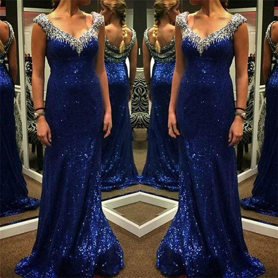 Robe de soiree Fabulous New   Prom     Dresses   2017 V-Neck Cap Sleeve Floor Length Beading Sequined Long Evening   Dress