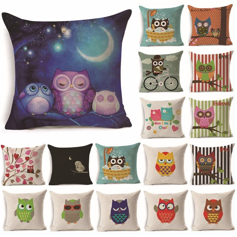 1Pcs 43*43cm Lovely Colorful Owl Pattern Cotton Linen Throw Pillow Cushion Cover Car Hom ...