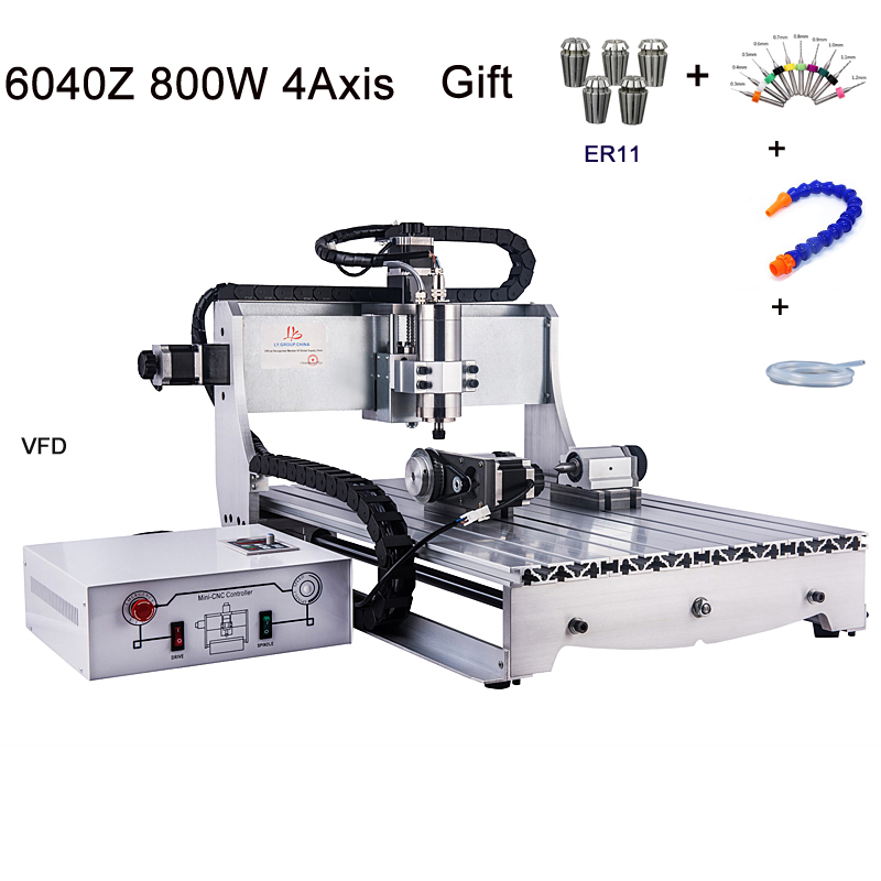 Russia no tax <font><b>CNC</b></font> Router <font><b>6040</b></font> <font><b>4</b></font> <font><b>axis</b></font> USB Port <font><b>CNC</b></font> Engraving Machine With 800W Spindle Motor for wood metal cutting 220V 110V image