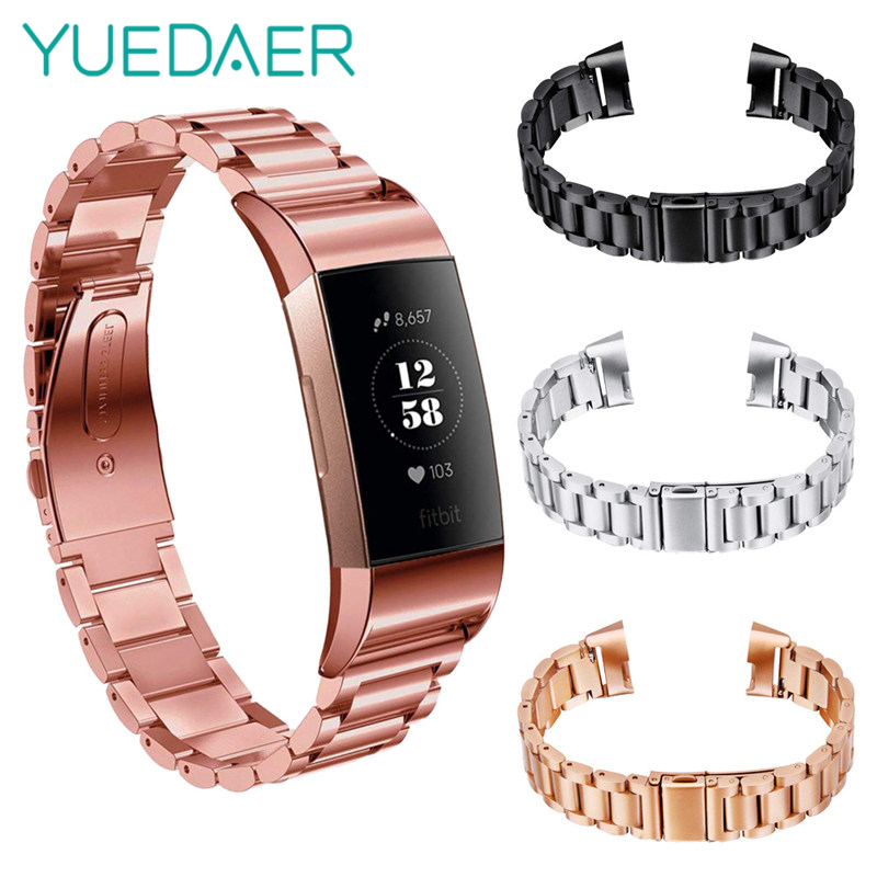 YUEDAER Metal Watchband Wrist Strap For Fitbit Charge 3 Band Replace Watch Strap Butterfly Closure Bracelet For Fitbit Charge3