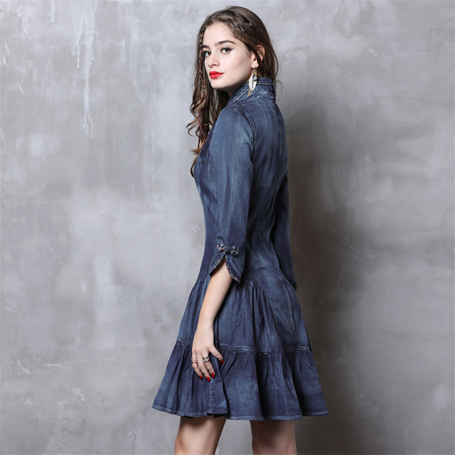 Cheongsam Dress Women 2019 Vintage Spring New Denim Dresses Chinoiserie Ruffles Mandarin Collar 3/4 Sleeve China Style Dress 1