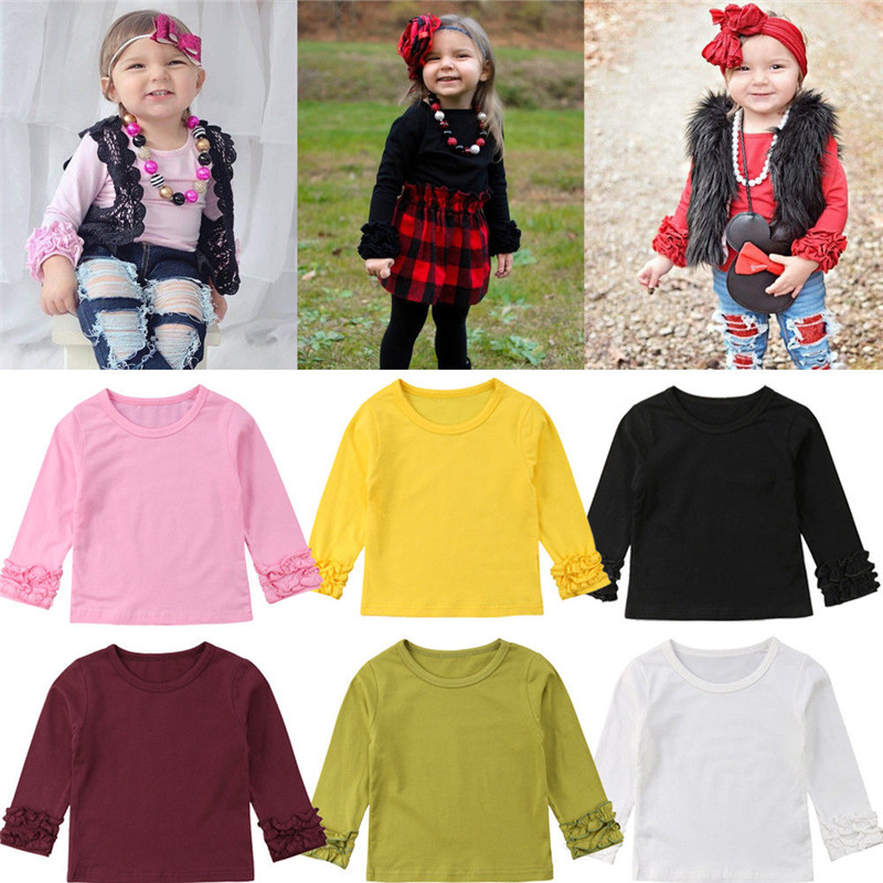 Toddler Baby Girl Kids Autumn Spring Solid Color T shirt Long Lace Flower Sleeve Tops Tee Clothes Striped Cute T-shirt cloak sleeve solid tee