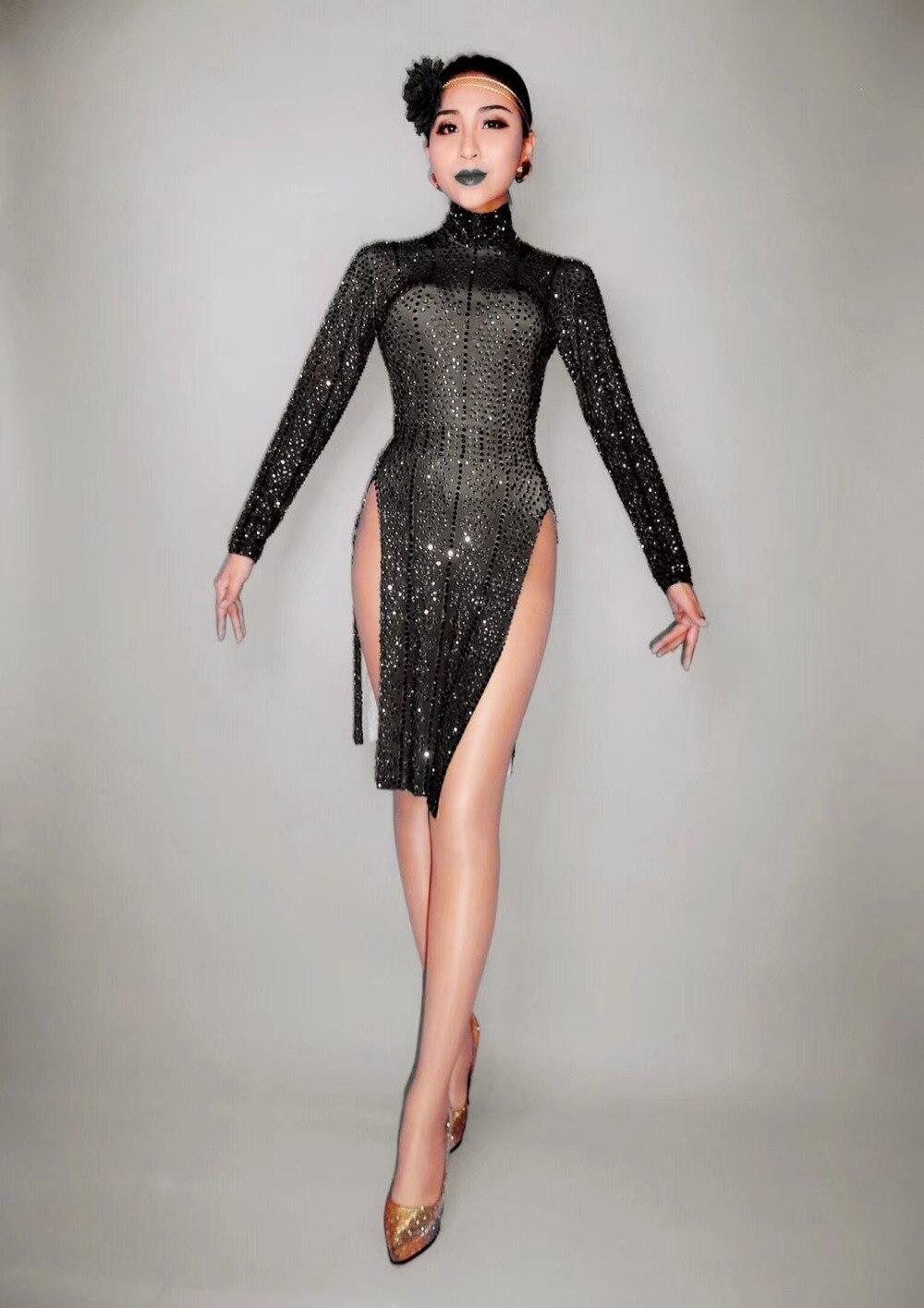 Noir violet brillant strass robe discothèque femme Costume femmes fête d'anniversaire célébrer tenue chanteur danse Show robes
