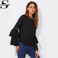 Sheinside Tiered Flare Sleeve Pearl Embellished Blouse Women Round Neck Long Sleeve Elegant Top 2017 Casual