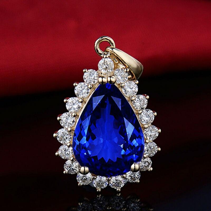 Pera 10x14mm 14Kt Oro Giallo Tanzanite Ciondolo di Diamanti, Naturale AAA Tanzanite Ciondolo, solido Ciondolo In Oro Per Le Donne E0080 - 2