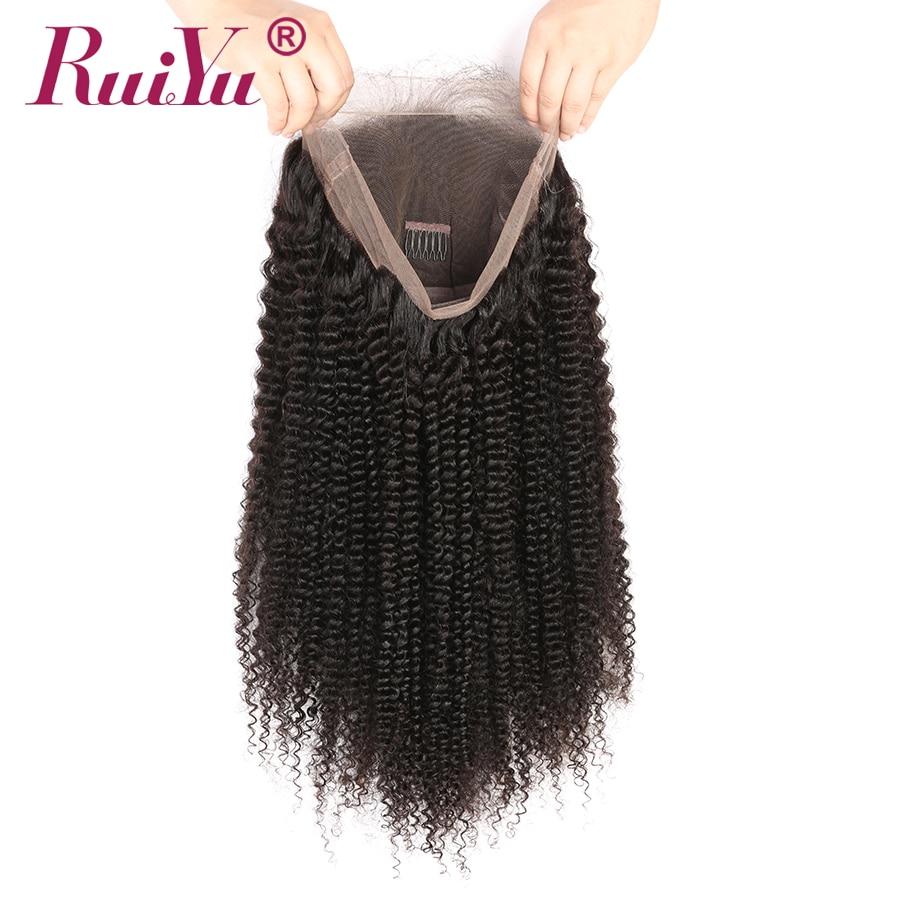 Parukë flokësh me flokë të dredhur Kinky RUIYU Dantella të - Flokët e njeriut (të zeza) - Foto 5