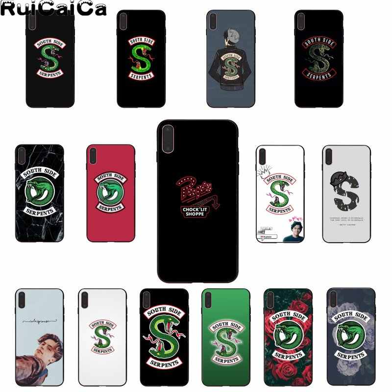 RuiCaiCa Riverdale South Side Serpents Smart Cover Black Soft Shell Phone Case for iPhone 5 5Sx 6 7 7plus 8 8Plus X XS MAX XR