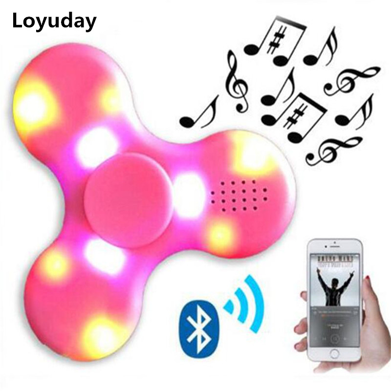 Fidget Spinner With Built In LED Bluetooth Speaker Hand Spinners Tri Finger Spinning Top Decompression