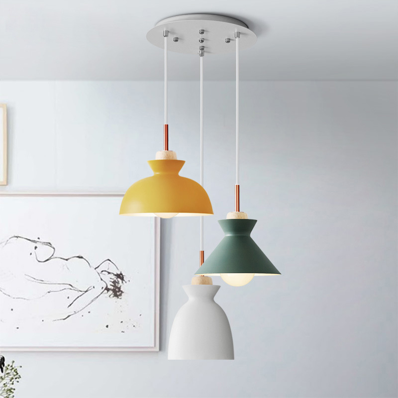 Nordic simple modern bedroom bedside personality bar iron rice cup pendant light restaurant  hanging lampNordic simple modern bedroom bedside personality bar iron rice cup pendant light restaurant  hanging lamp
