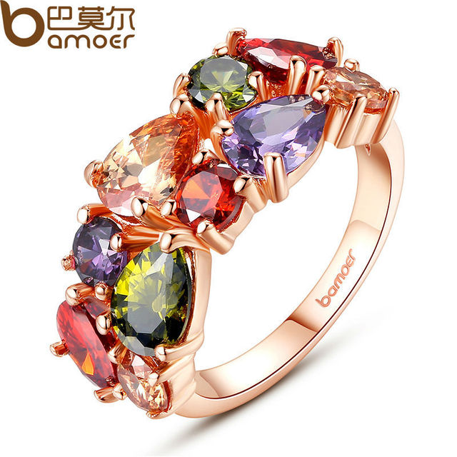 BAMOER Unique Design Rose Gold Color Mona Lisa Ring for Female Wedding with AAA
