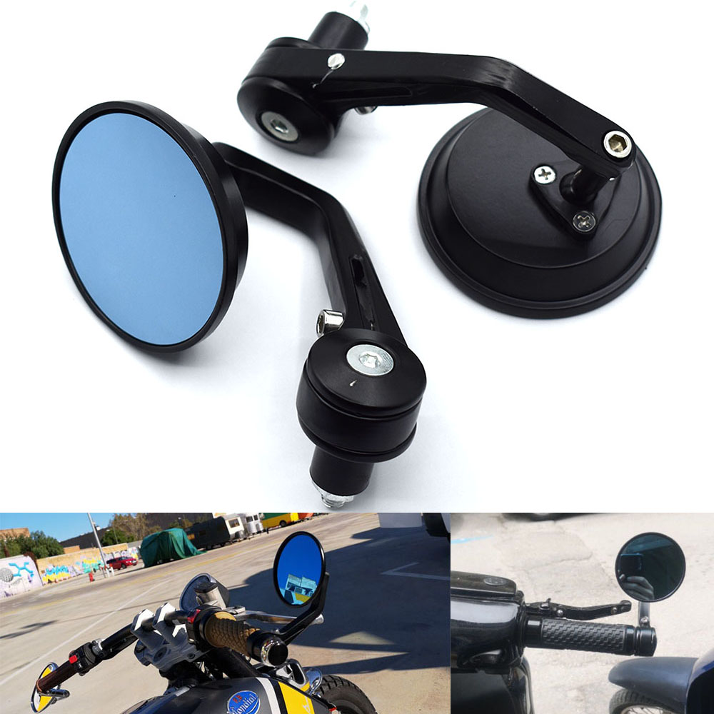Black HANEU 10mm Side bar Mirrors Bar End Mirrors Universal Rearview Street Sport Bike Motif
