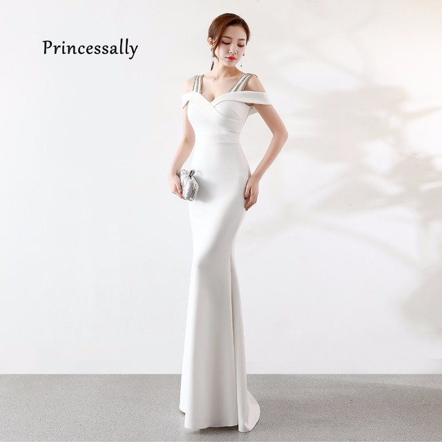 d2ee6bd3be1 New Mermaid White Evening Gowns Long Satin Wide Straps Crystal Formal Bridal  Banquet Party Prom Gown 2019 Longo Vestido De Festa