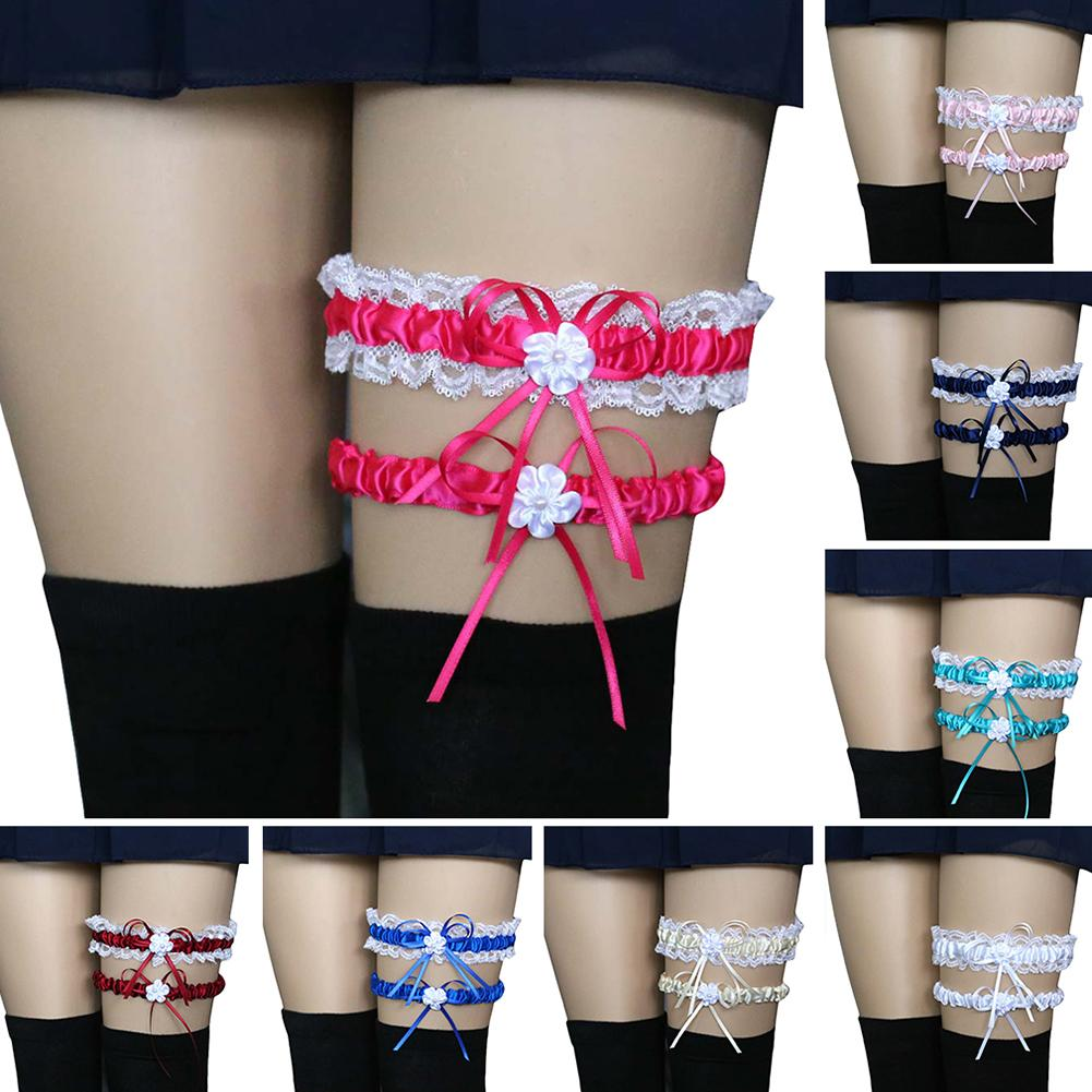 2Pcs Fashion Leg Garter Belt Sexy Women Ladies Bridal Lingerie Wedding Party Cosplay Lace Bowknot Leg Garter Belt Suspender