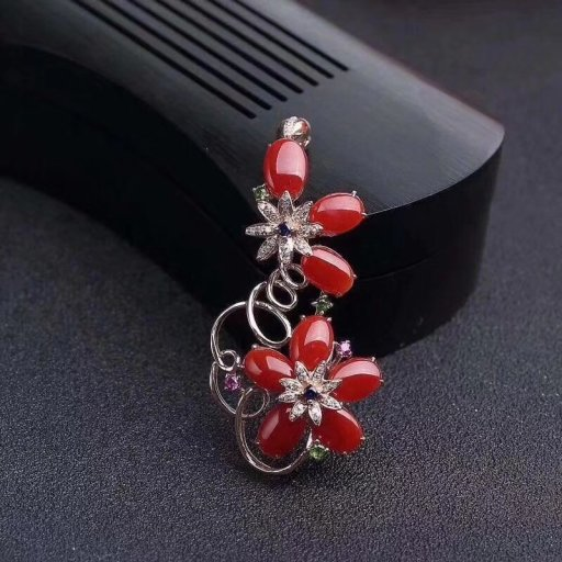 natural red coral gem pendant S925 silver Natural gemstone Pendant Necklace trendy Fashion long Flower women girl gift jewelry natural ice jade gem pendant s925 silver natural gemstone pendant necklace luxury big round flower women gift party gift jewelry