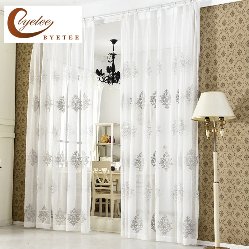 [byetee] Λευκό Σύγχρονη Υπνοδωμάτιο Καθιστικό Τούλι Sheer Organza Κουρτίνες Voile Για Γάζα Παράθυρο Κεντημένες Κουρτίνα Υφάσματα Κουρτίνες