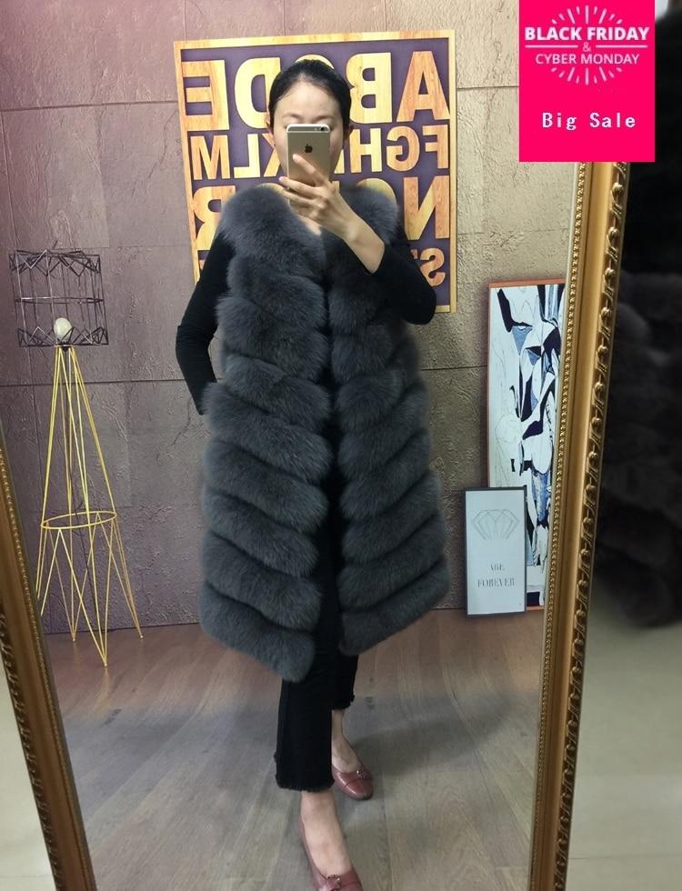 9 étapes au-dessus du genou 2018 hiver chaud marque de mode femmes longger fausse fourrure gilet manteau de fourrure de renard gilet Colete Feminino wj1309