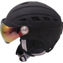 Матовый черный лыжный шлем с очками для мужчин/женщин/детей сноуборд шлем для езды на снегоходе зимняя мото скейтборд сани/катание на коньках защитная маска