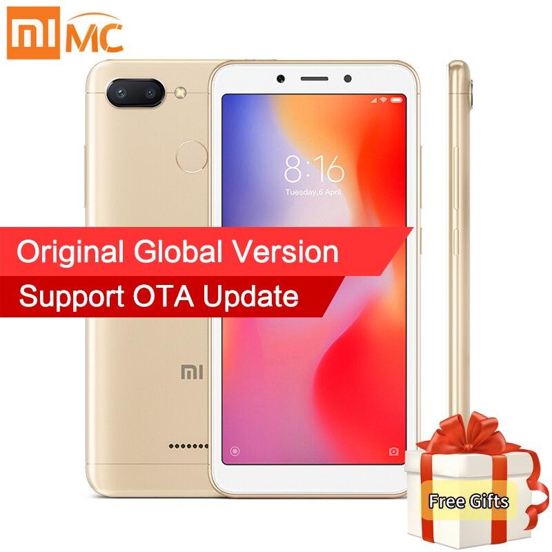 Em Estoque Global Versão Xiaomi Redmi 6A 2 gb Helio A22 16 gb MTK Quad Core 5.45 18:9 Cheia tela 13MP Câmera 3000 mah Do Telefone Móvel