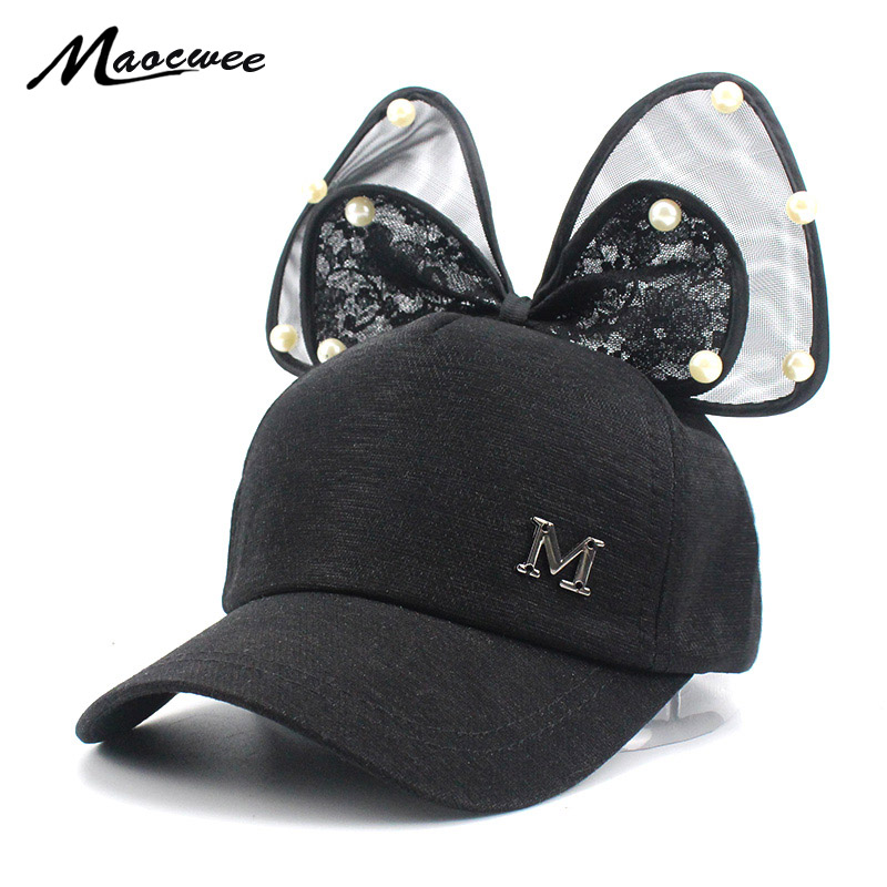 Big Bow New Baseball Cap Lovely Korea Kids Girls Adjustable Cap Fashion Cartoon Patten Children Hats Bones Black white pink Bone