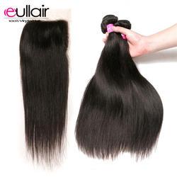 Eullair волос перуанские пучки волос с закрытием прямые 4 шт 100% человеческих волос Natural Цвет завитые здоровые волосы