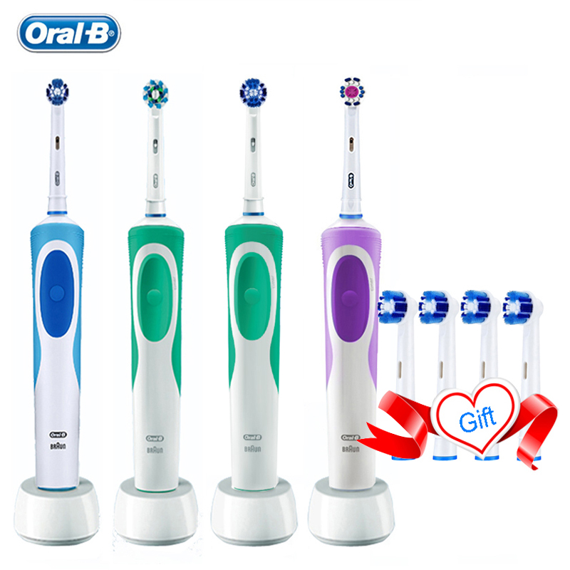 Oral B Vitality Electric Toothbrush Rechargeable Teeth Brush Heads 3D White 2 Minutes Timer + 4 Gift Replace Head Free Shipping image