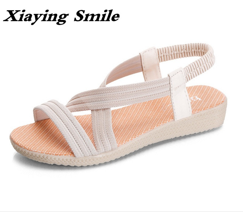 Xiaying Smile Summer Woman Sandals Casual Fashion Women Shoes Wedge Slip On Elastic Band Beach Bohemian Style Rubber Women Shoes xiaying smile summer new woman sandals platform women pumps buckle strap high square heel fashion casual flock lady women shoes