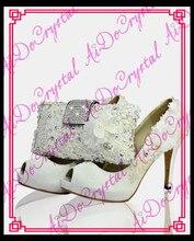Aidocrystal 2016 elegent white lace Women Platforms Rhinestone High Heels Wedding Shoes Italian Shoes With Matching Bags