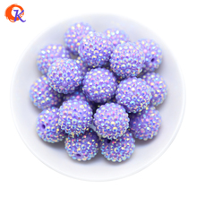 R36 Cordial Design 20MM 100Pcs/Lot Purple Chunky Resin Rhinestone Beads Chunky Beads For Necklace Making CDWB 516025