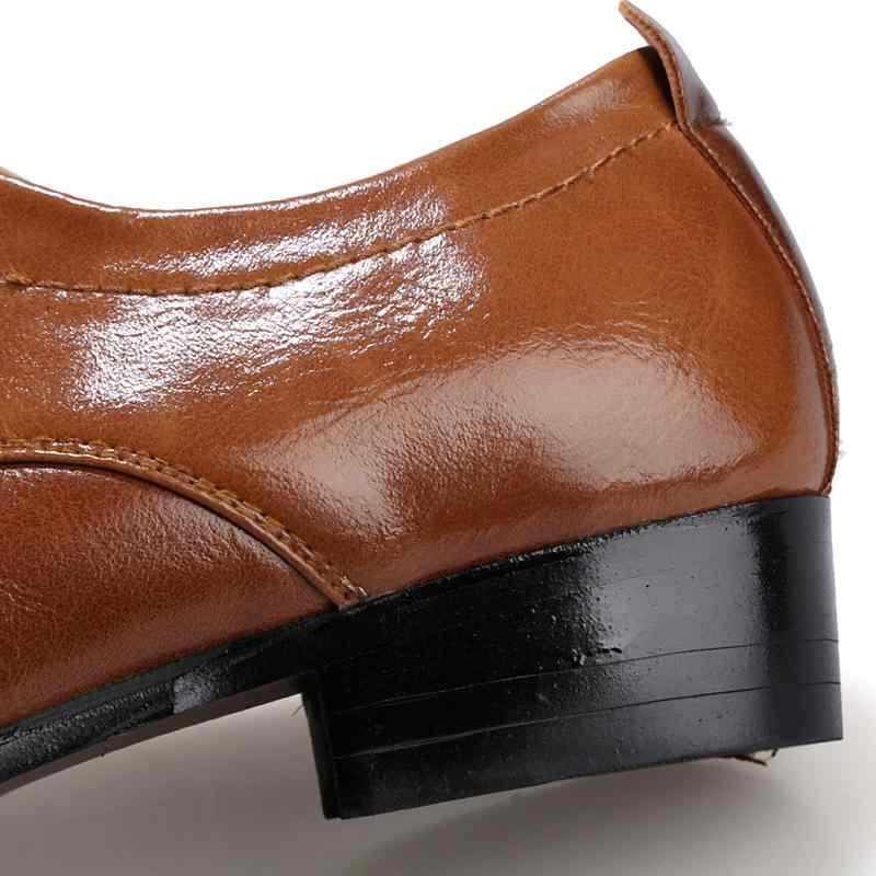 2018 Лидер продаж Для мужчин Повседневная кожаная обувь Весна/Осень Модное дышащий Высота Увеличение Для мужчин обувь плюс размеры 38–46