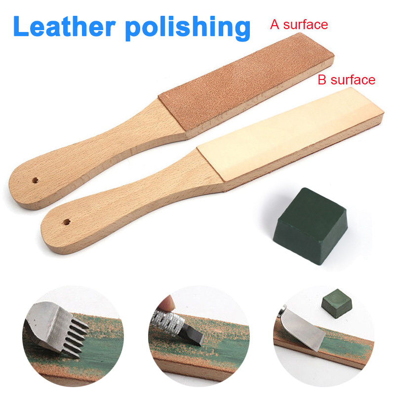 Dual Sided Leather Blades Strop Cutter Razor Sharpener Polishing Board Sharpen Home Tools E2S