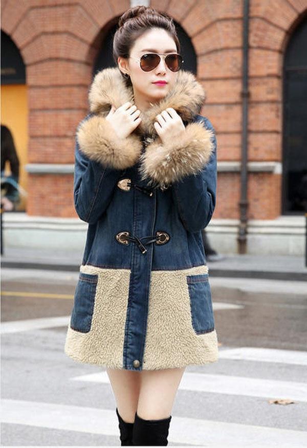 ФОТО 2014 women's long denim coat large fur collar jackets thick winter cotton coat new style winter  jackets A1376