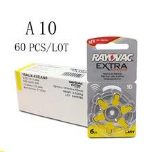 60 шт. Rayovac дополнительный цинк воздушный слуховой аппарат батареи A10 10A 10 PR70 слуховой аппарат батарея A10 для слуховых аппаратов