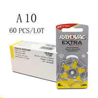 60 PCS Rayovac Extra Zinc Air Hearing Aid Batteries A10 10A 10 PR70 Hearing Aid Battery A10 for Hearing Aids