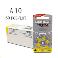 60 PCS Rayovac Extra Zinc Air Hearing Aid Batteries A10 10A 10 PR70 Hearing Aid Battery A10 for Hearing Aids