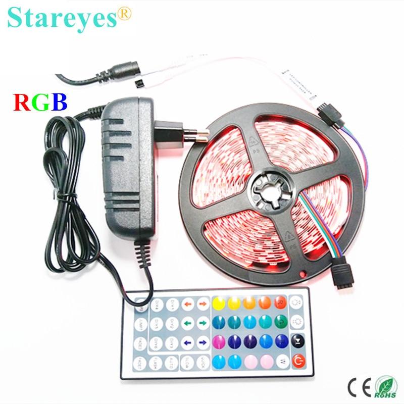 1 sada SMD 5050 60 LED / M 5M LED RGB led Strip baterka páskové osvětlení Non vodotěsný RGB proužek + 44 kláves Remote + 3A Power Adapter