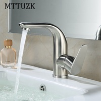 MTTUZK 304 Stainless Steel Single Hole Bathroom Basin Faucet Hot Cold Water Tap High Class Brushed