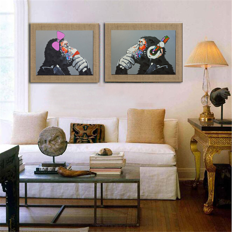 Hand Painted With Frame Animal Picture Gorilla