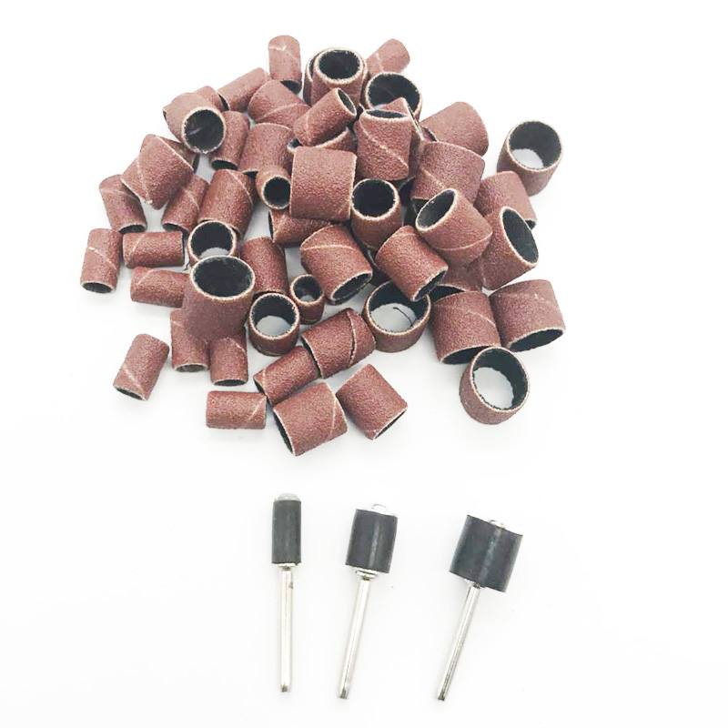 80Grit Drum Sanding Kit 1/2 3/8 1/4 Inch Sand Mandrels Fit For Nail Drill Rotary Tools 63pcs/set